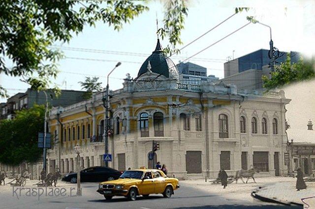 Совмещенная фотография дома Зельмановича 1912-2009 года