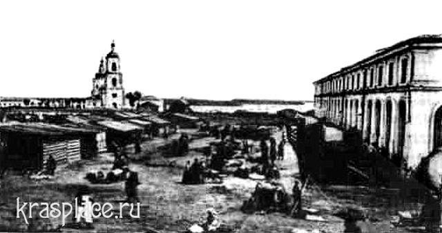 Старобазарная площадь со зданием Гостиного двора. XIX век.