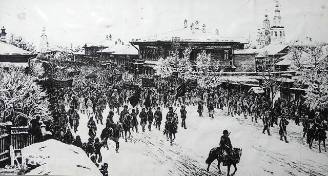 Демонстрация ЖД батальона, во главе прапорщик Кузьмин