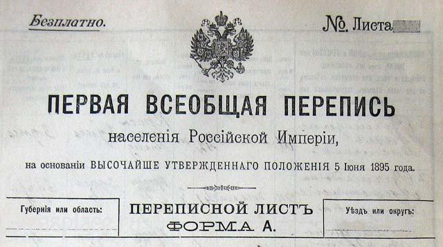 Переписной лист 1897 год