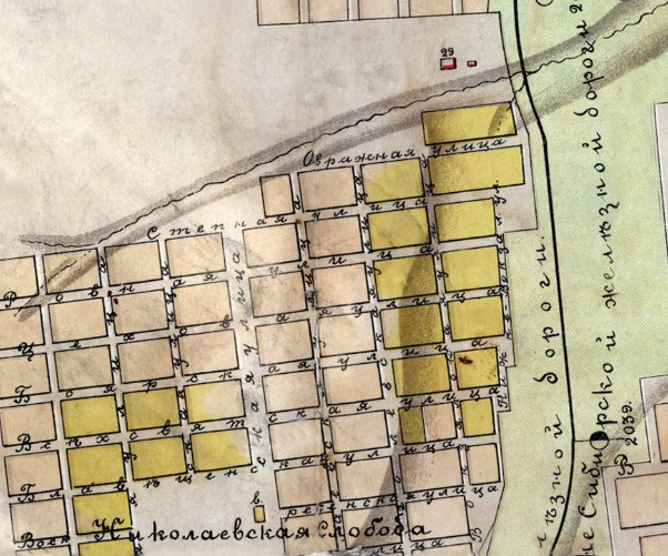 Фрагмент карты Красноярска 1906 года