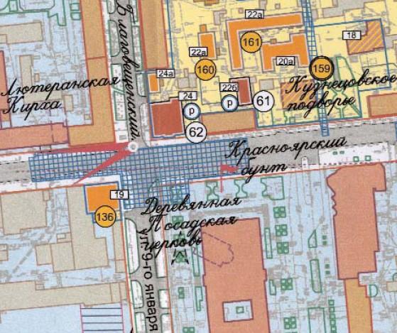 Фрагмент первой куртины пр.Мира по плану 2007г., архитекторов Е.В.Гевель, О.Ю.Шильдиной