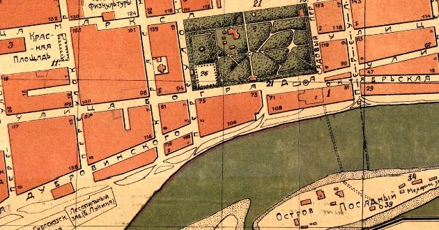 Фрагмент карты Красноярска 1924 года