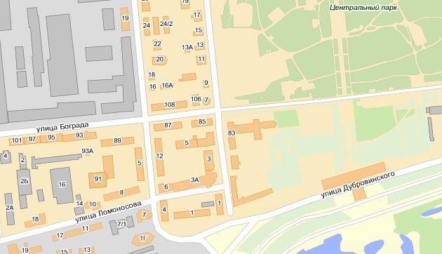 Фрагмент современной карты Красноярска