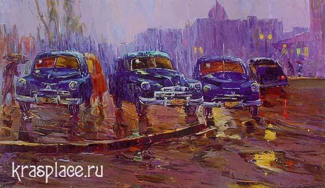 Поздеев.Вечер. Стоянка такси.1958