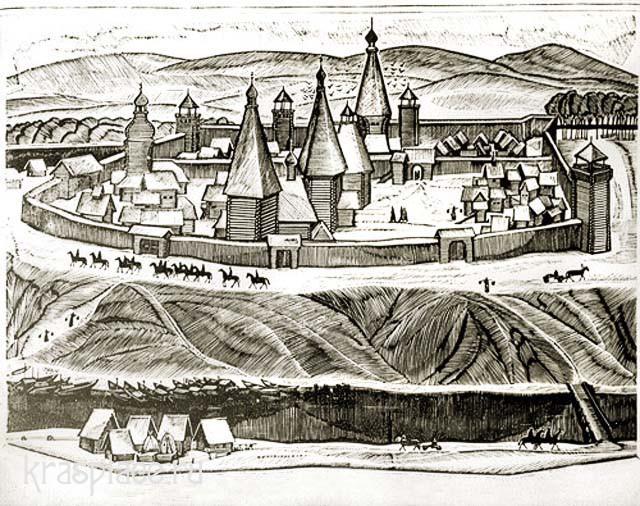 Красноярский острог XVII век. Гравюра