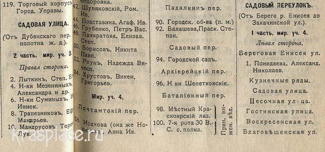 Список домов в г.Красноярске_ садовая