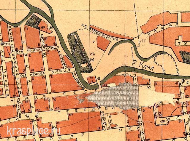 Фрагмент карты Красноярска 1924 г