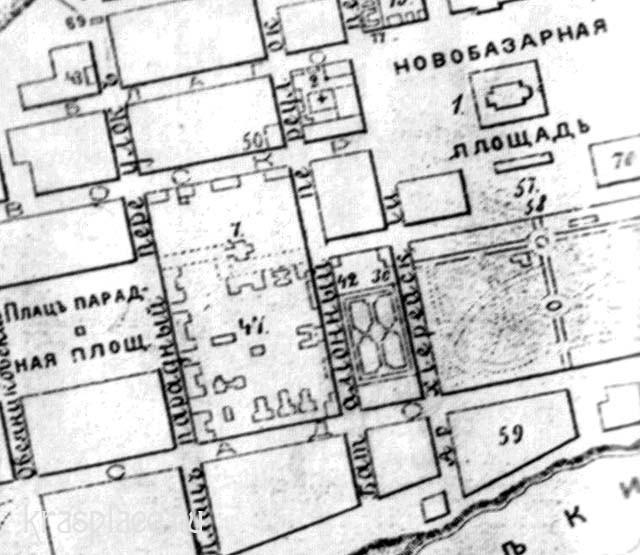 План главного города Енисейской губернии Красноярска составленный в 1894 г. М.Н. Хрущовым. Фрагмент. ККМ.