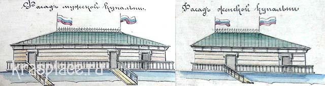 Фасады мужской и женской купален