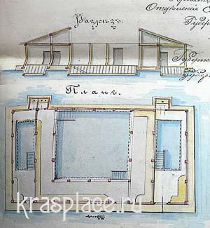 Разрез и план мужской купальни