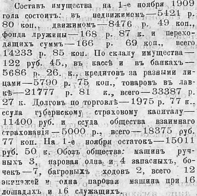 Капитал пожарного общества на 1 ноября1909 г