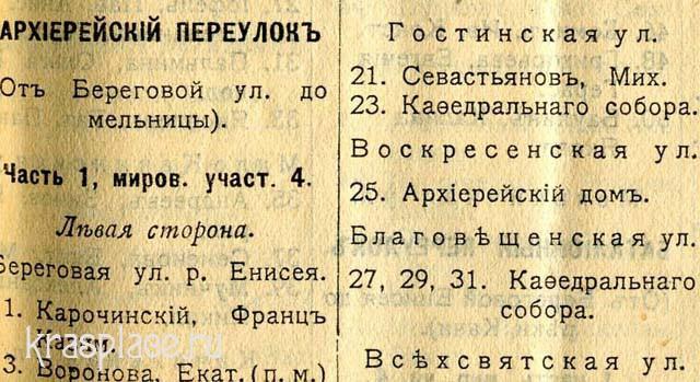 Список домов. Архирейский переулок