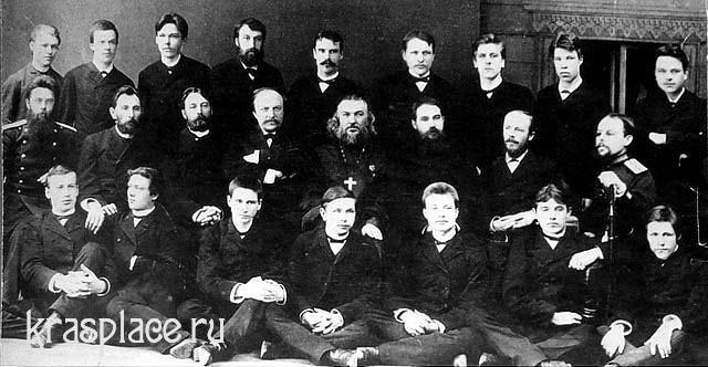 Преподаватели и учащиеся учительской семинарии 1893. Во втором ряду крайний слева П.Н.Коновалов