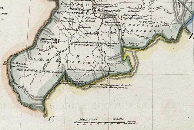 Генеральная карта Енисейской губернии 1825 года. Южная часть
